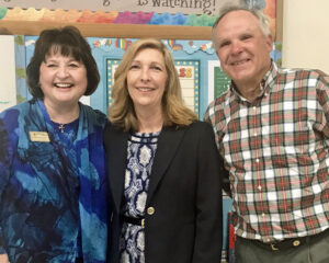 Dr. Diane Starkovich, Superintendent of Schools (left), along with Father Mark Horak, welcomes new principal, Mrs. Shaun Bland (middle).